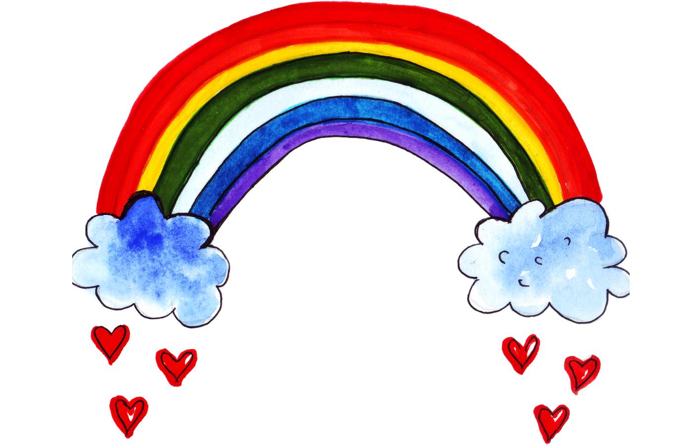 Hand drawn rainbow image with hearts